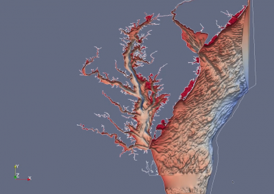 Chesapeake Model Colored by Elevation